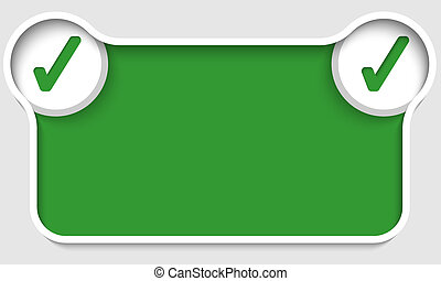 green abstract text box with two check boxes