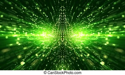 Green abstract tunnel from particles