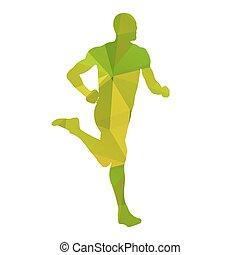 Green abstract vector runner