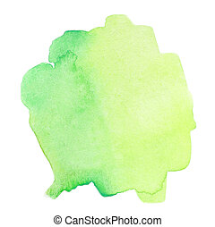 Green Abstract watercolor splash. Wet Watercolour drop for ...