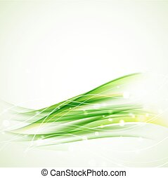 green abstract wavy background with sparkles