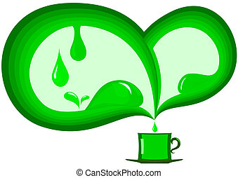 Green Abstract with a cup of tea