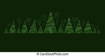 Simple decorative silhouette of deep green forest. - Green ...