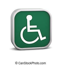 Green Accessibility Sign - Green accessibility sign on a...