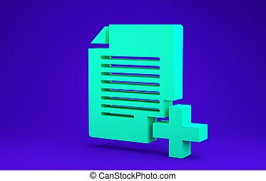 Green Add new file icon isolated on blue background. Copy document icon. Minimalism concept. 3d illustration 3D render