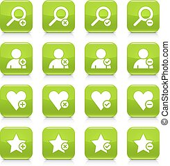 Green additional sign square icon web button