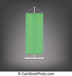 Green advertising stand. Blank vector illustration.
