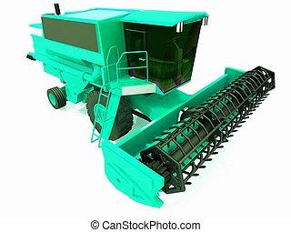 Green agricultural combine-harvest - Green agricultural...