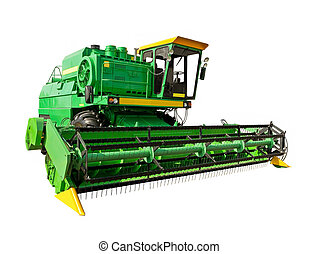 Green agricultural harvester on a white background