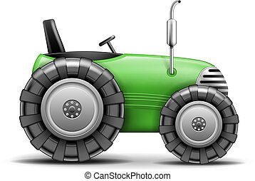 Green Agricultural Tractor isolated on white. Vector Illustration