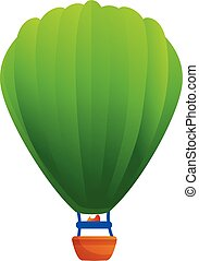 Green air balloon icon, cartoon style