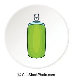 Green air freshener aerosol bottle icon