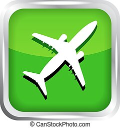green airplane icon on a white back