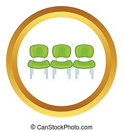 Green airport seats vector icon