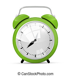 Green Alarm Clock Illustration Isolated on White Background