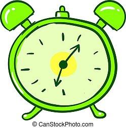 Green alarm clock, illustration, vector on white background.