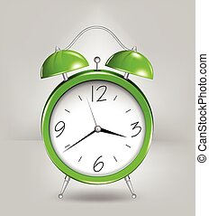 Green alarm clock. Vector