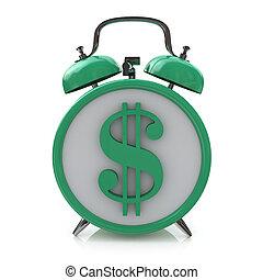 Green alarm clock with dollar symbol on clockface. Time is money