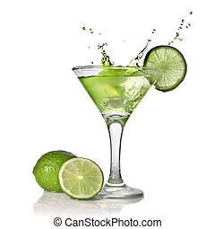 Green alchohol cocktail with splash and green lime isolated ...