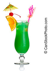 Green alcohol cocktail with orange slice and umbrella isolated on white background