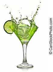 Green alcohol cocktail with splash and green lime isolated ...