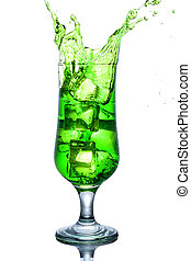 Green alcohol cocktail with splash isolated on white