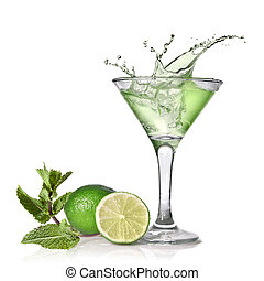 Green alcohol cocktail with splash, lime and mint isolated...
