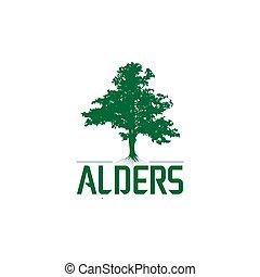 green alders tree logo template