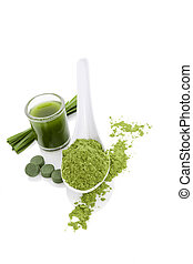 Green algae superfood. - Green algae dietary supplements....