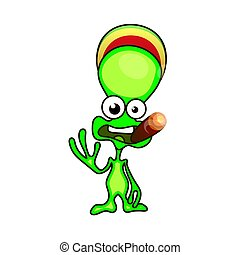 Green alien face emoji.