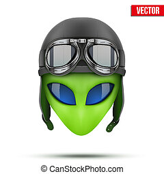 Green Alien head in aviator helmet.. Vector. - Green Alien...