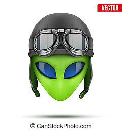 Green Alien head in aviator helmet. Vector illustration isolated on white background.