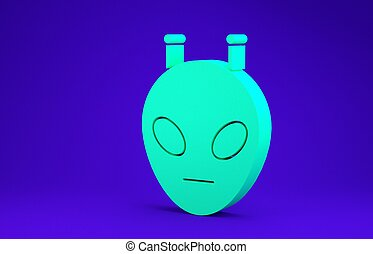 Green Alien icon isolated on blue background. Extraterrestrial alien face or head symbol. Minimalism concept. 3d illustration 3D render