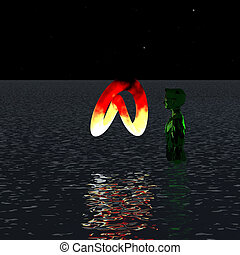Green alien standing in the water looking at the burning...