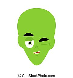 Green alien winks Emoji. UFO face happy emotion