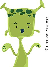 Green alien with antennas