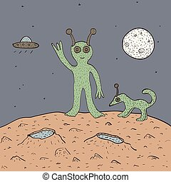 Green alien with dog