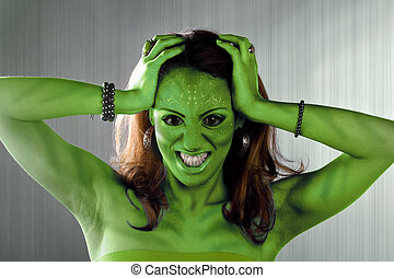 Green Alien Woman - A green alien or Martian woman posing...