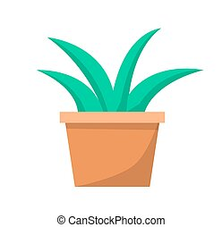 Green Aloe Plant in Clay Pot Vector Illustration
