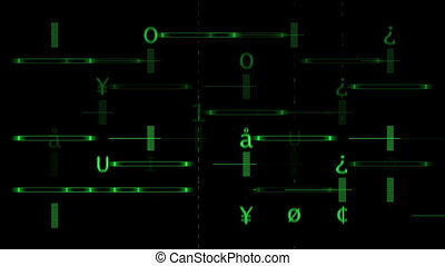 Green Alphabet array on the black background