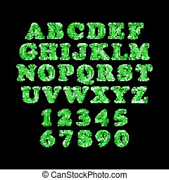 green alphabet foil party celebration balloons. black background