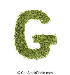 Green alphabet, letter G isolated on white