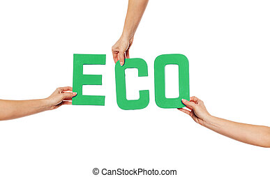 Green alphabet lettering spelling ECO