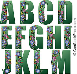 Green Alphabet with flowers - Big green letters of the...