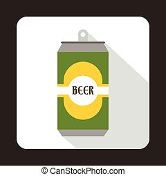 Green aluminum can icon, flat style