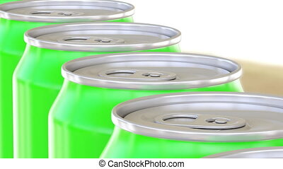 Green aluminum cans moving on conveyor. Soft drinks or beer production line. Recycling packaging. 4K seamless loop dolly clip, ProRes