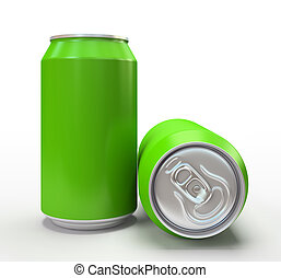 Green aluminum cans on white background 3D