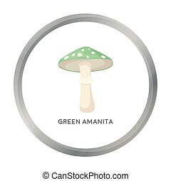 Green amanita icon in cartoon style isolated on white background. Mushroom symbol stock vector illustration.