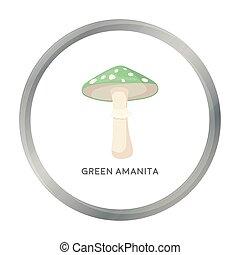 Green amanita icon in cartoon style isolated on white background. Mushroom symbol stock vector illustration.