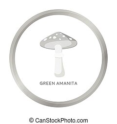 Green amanita icon in monochrome style isolated on white background. Mushroom symbol stock vector illustration.